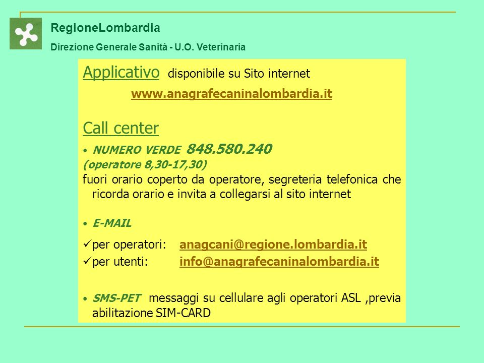 Applicativo disponibile su Sito internet