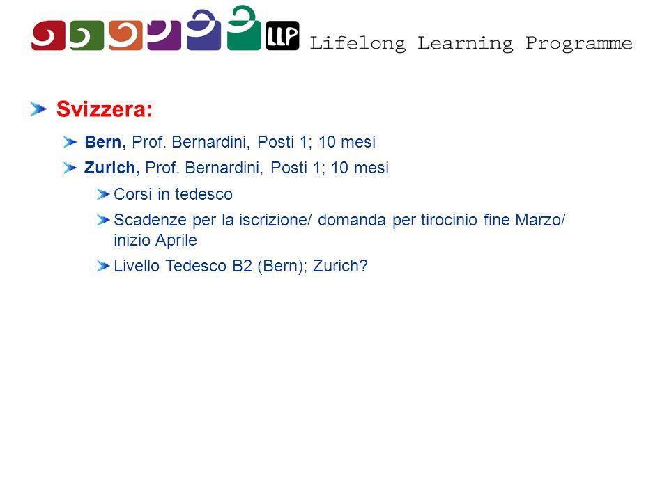 Svizzera: Bern, Prof. Bernardini, Posti 1; 10 mesi