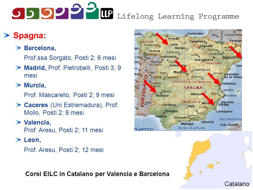 Spagna: Barcelona, Prof.ssa Sorgato, Posti 2; 6 mesi