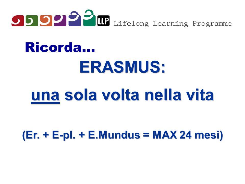 una sola volta nella vita (Er. + E-pl. + E.Mundus = MAX 24 mesi)