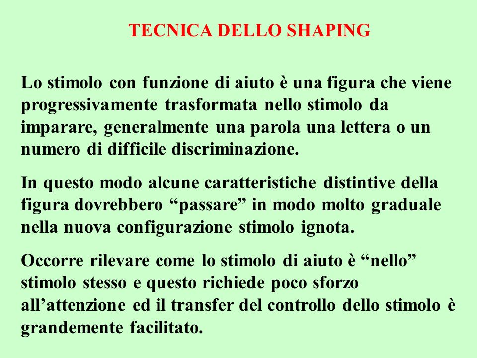 TECNICA DELLO SHAPING