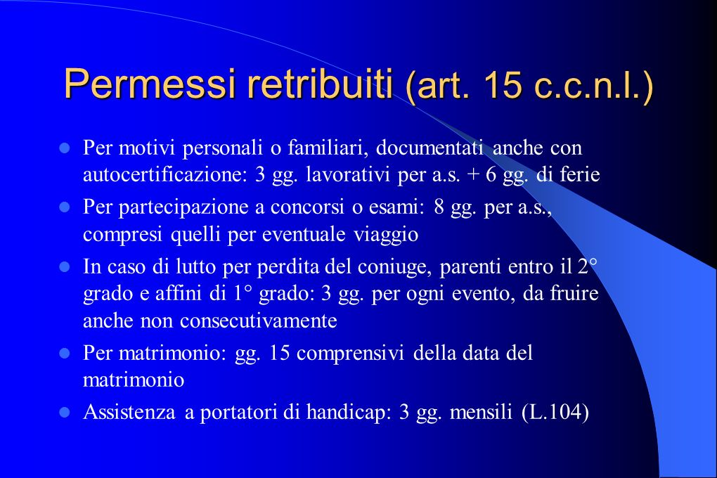 Permessi retribuiti (art. 15 c.c.n.l.)