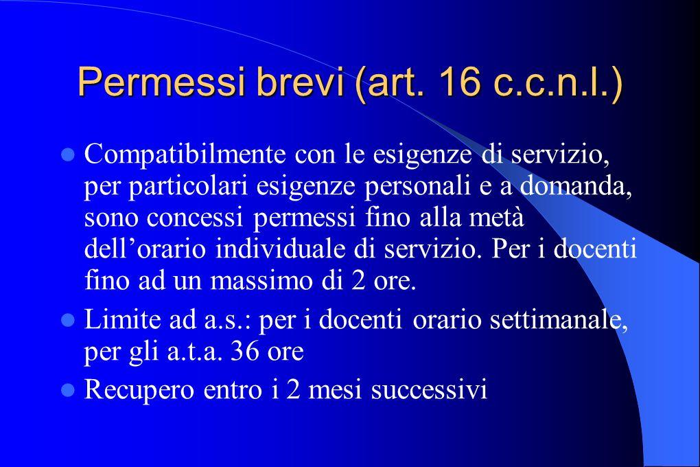 Permessi brevi (art. 16 c.c.n.l.)