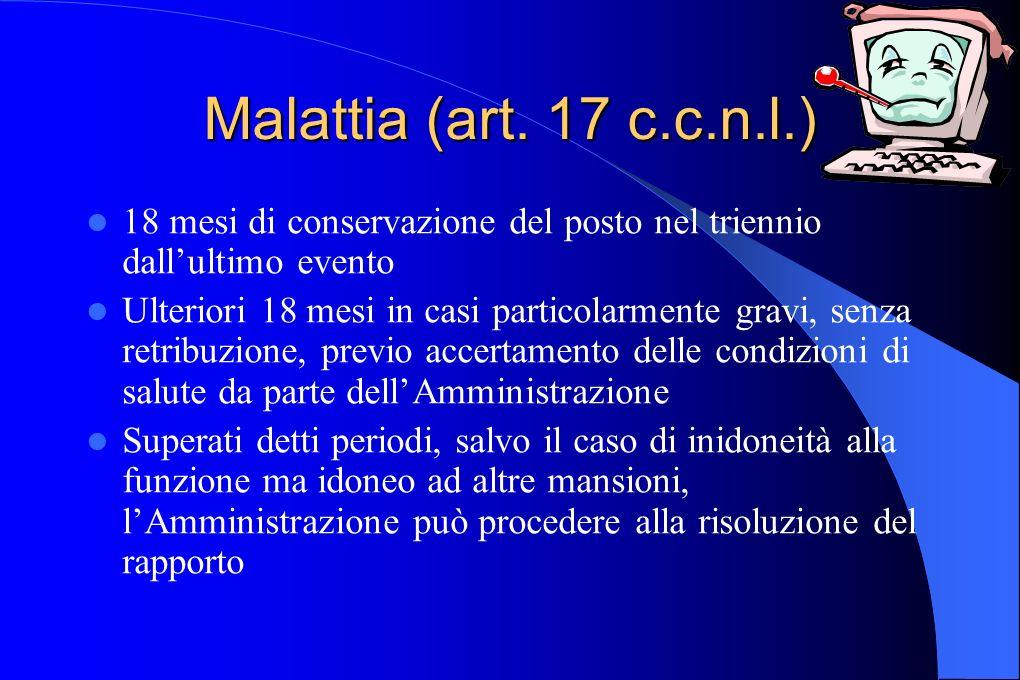 Malattia (art. 17 c.c.n.l.) 18 mesi di conservazione del posto nel triennio dall'ultimo evento.