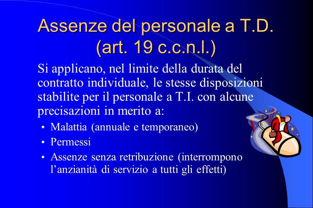 Assenze del personale a T.D. (art. 19 c.c.n.l.)