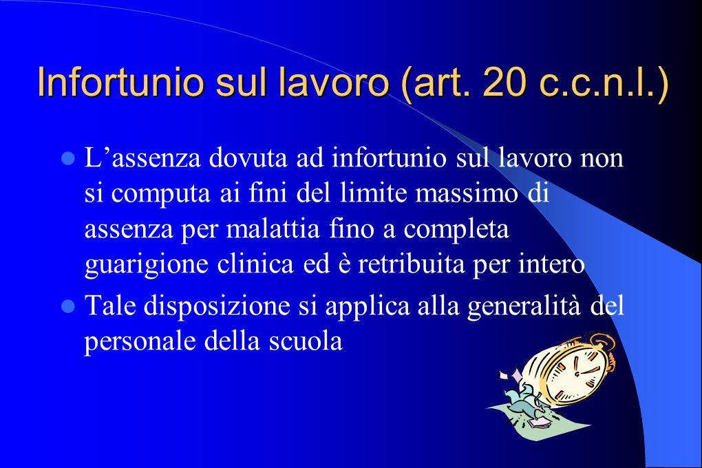 Infortunio sul lavoro (art. 20 c.c.n.l.)