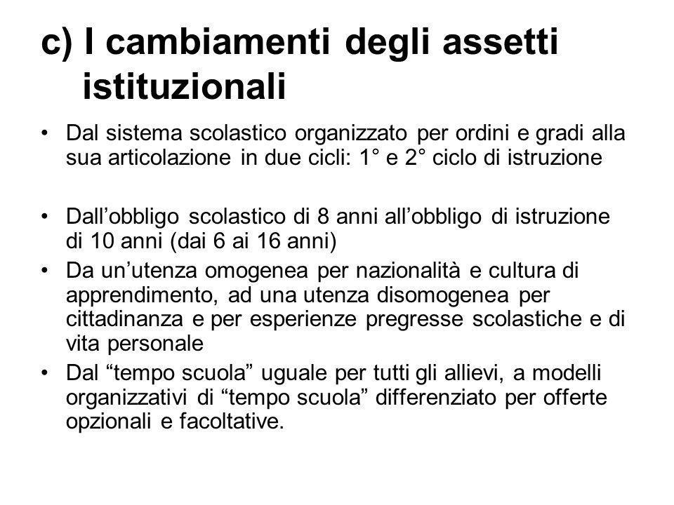 c) I cambiamenti degli assetti istituzionali