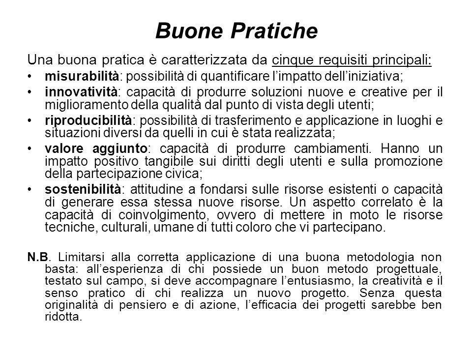Buone Pratiche Una buona pratica è caratterizzata da cinque requisiti principali: