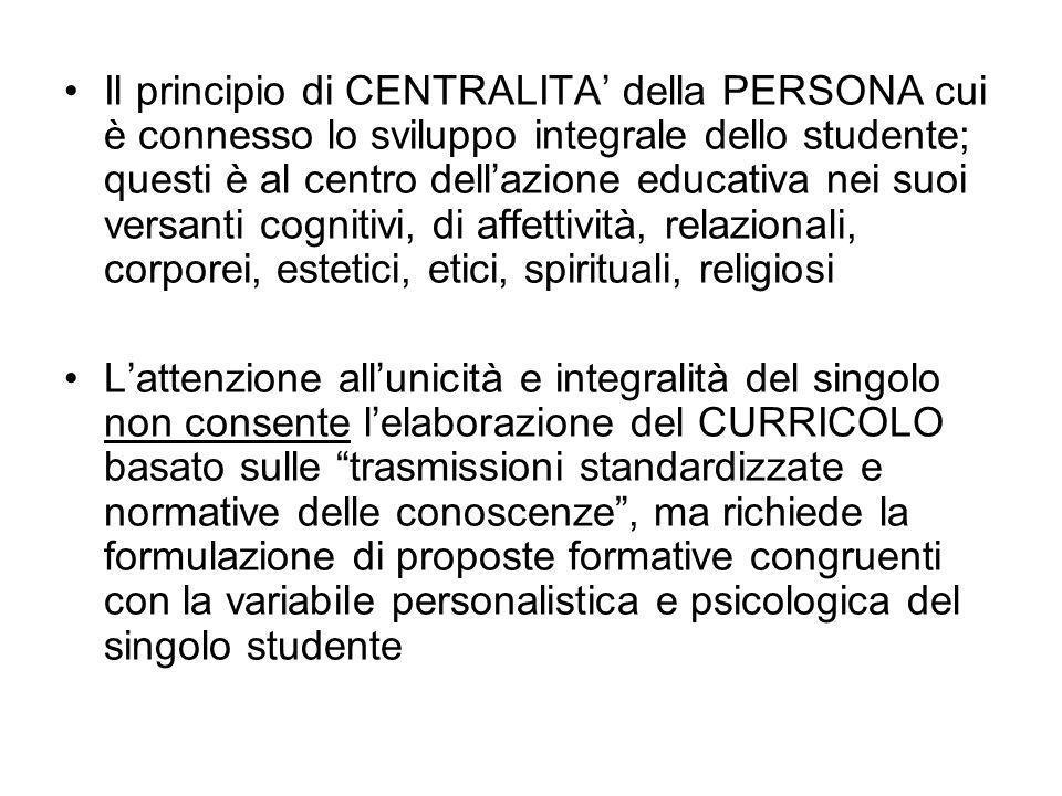 Il principio di CENTRALITA' della PERSONA cui è connesso lo sviluppo integrale dello studente; questi è al centro dell'azione educativa nei suoi versanti cognitivi, di affettività, relazionali, corporei, estetici, etici, spirituali, religiosi