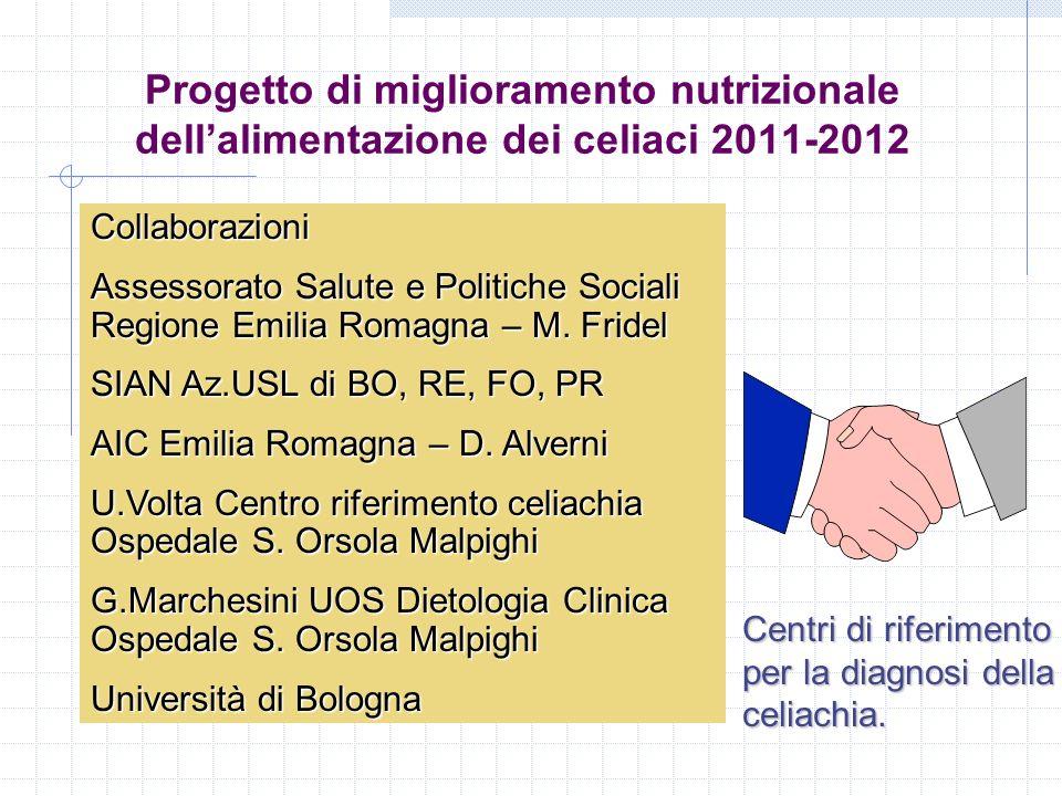 Progetto di miglioramento nutrizionale dell'alimentazione dei celiaci 2011-2012