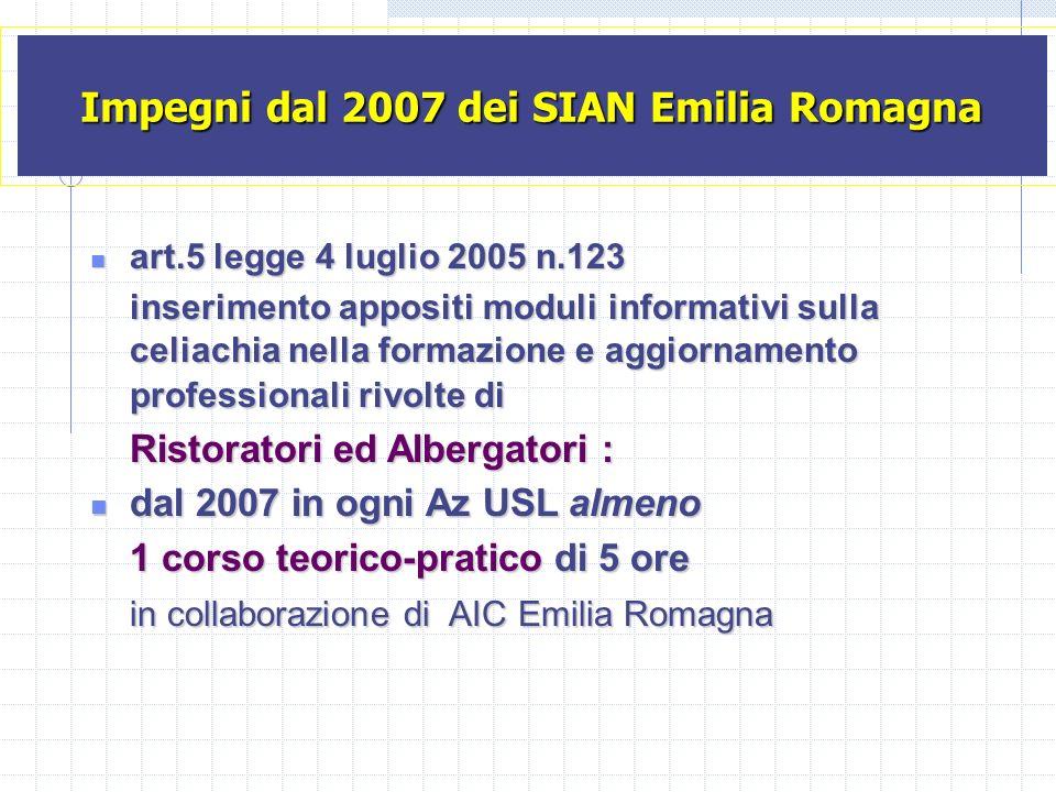 Impegni dal 2007 dei SIAN Emilia Romagna