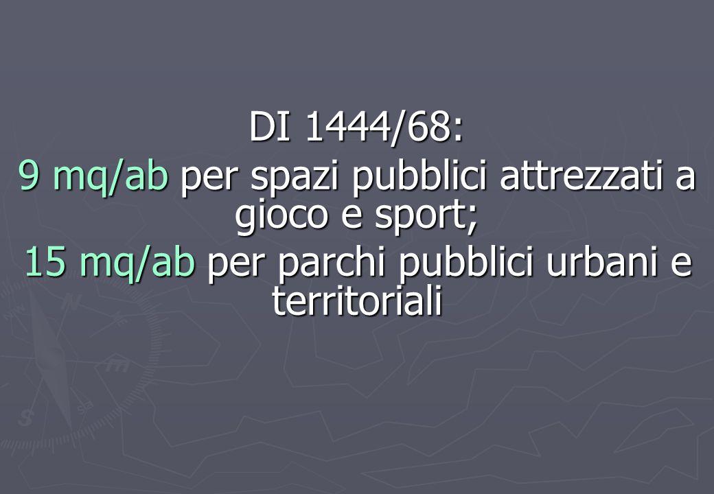 9 mq/ab per spazi pubblici attrezzati a gioco e sport;