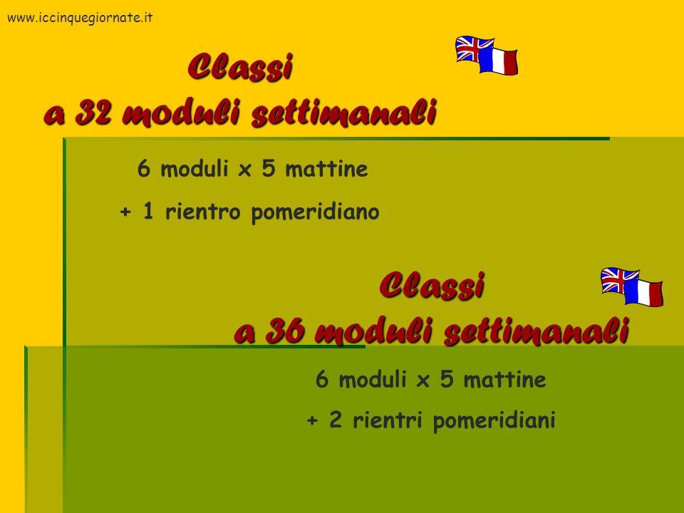 Classi a 32 moduli settimanali Classi a 36 moduli settimanali