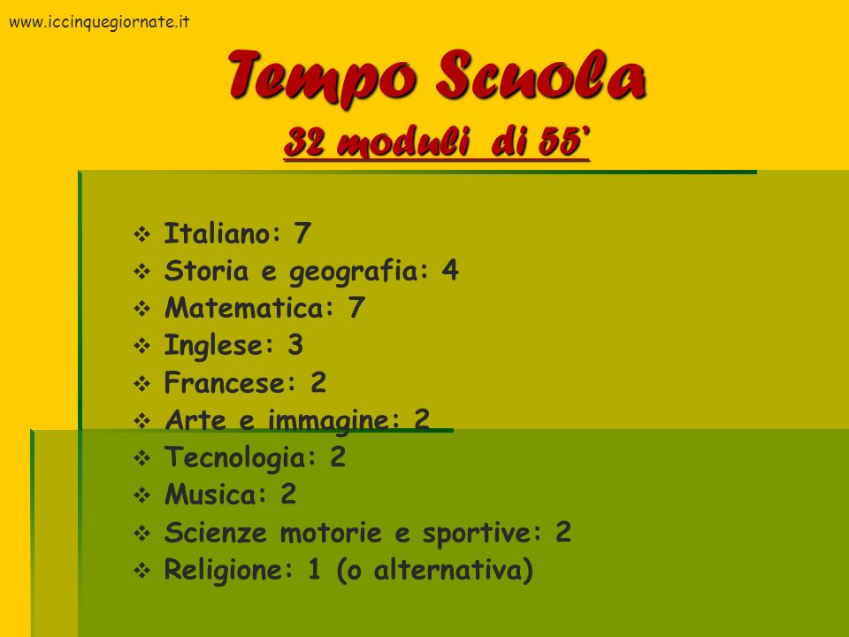 Tempo Scuola 32 moduli di 55' Italiano: 7 Storia e geografia: 4