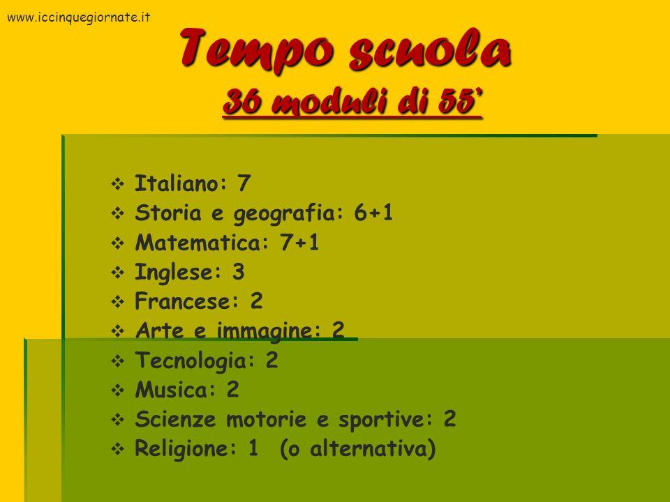 Tempo scuola 36 moduli di 55'