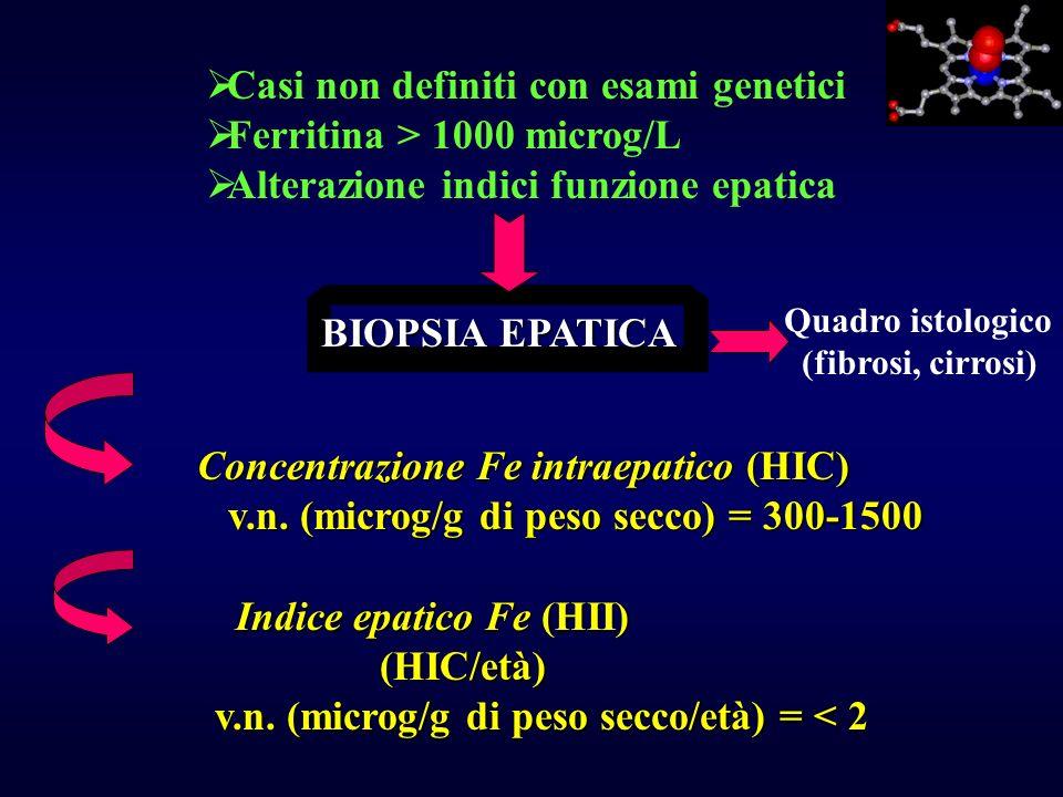 Casi non definiti con esami genetici Ferritina > 1000 microg/L