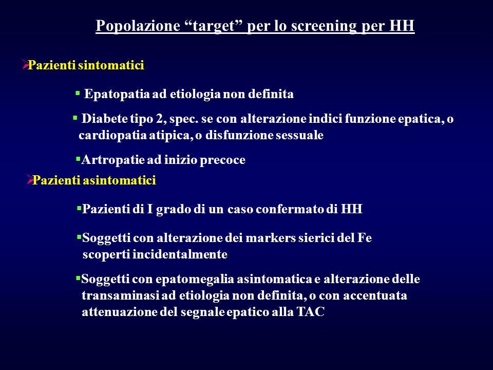 Popolazione target per lo screening per HH