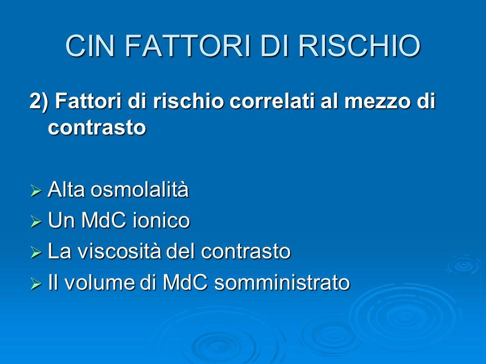 CIN FATTORI DI RISCHIO 2) Fattori di rischio correlati al mezzo di contrasto. Alta osmolalità. Un MdC ionico.