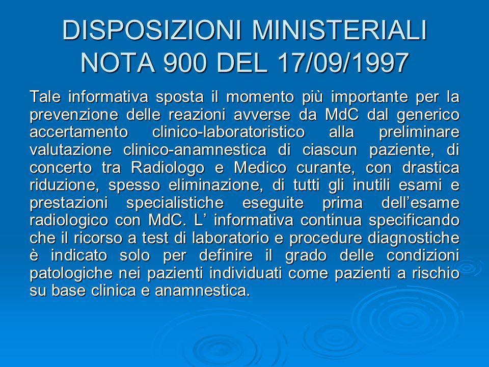 DISPOSIZIONI MINISTERIALI NOTA 900 DEL 17/09/1997