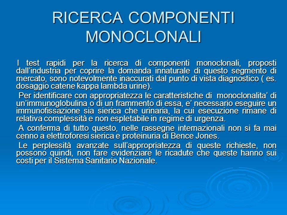 RICERCA COMPONENTI MONOCLONALI