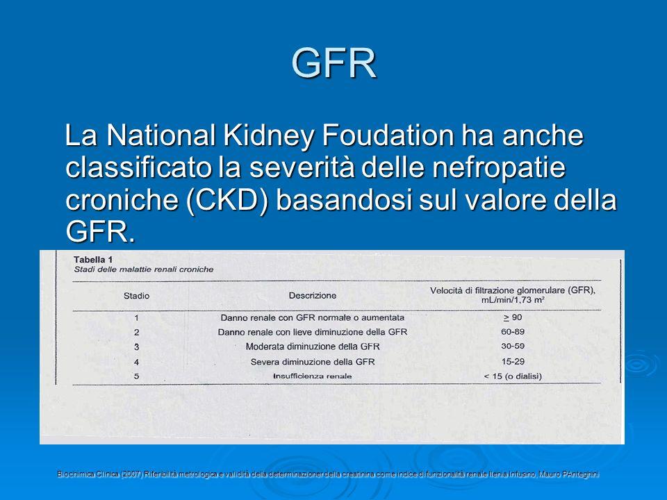GFR La National Kidney Foudation ha anche classificato la severità delle nefropatie croniche (CKD) basandosi sul valore della GFR.