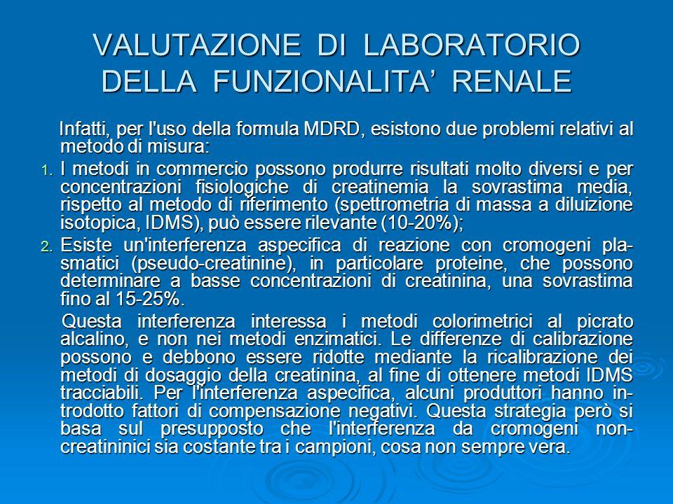 VALUTAZIONE DI LABORATORIO DELLA FUNZIONALITA' RENALE