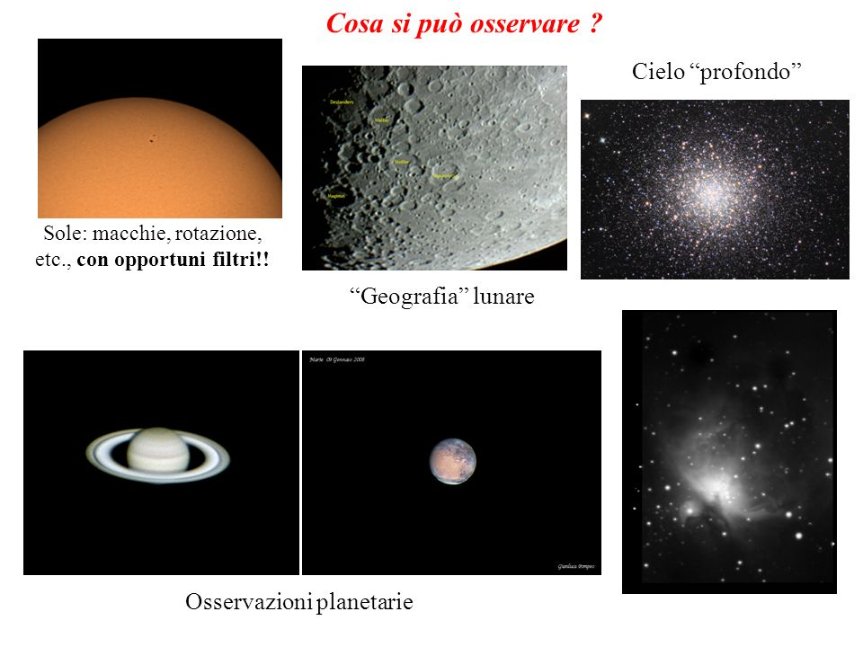 Cosa si può osservare Cielo profondo Geografia lunare