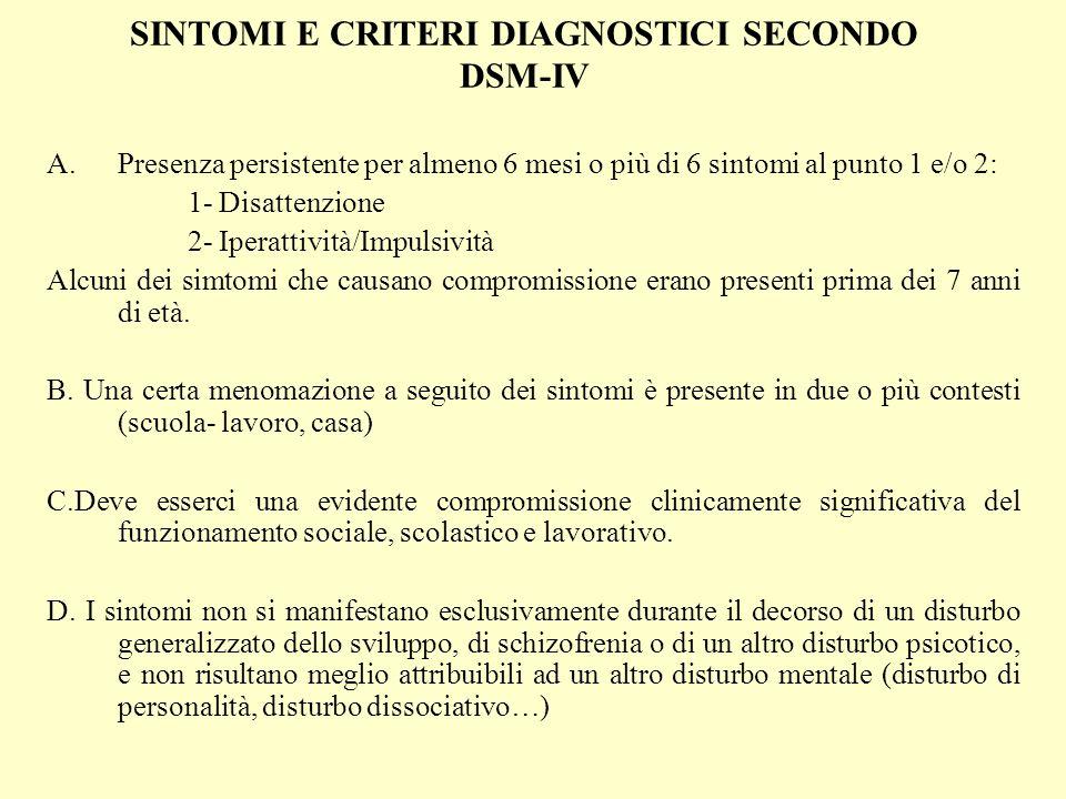SINTOMI E CRITERI DIAGNOSTICI SECONDO DSM-IV