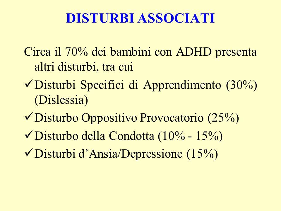 DISTURBI ASSOCIATICirca il 70% dei bambini con ADHD presenta altri disturbi, tra cui. Disturbi Specifici di Apprendimento (30%) (Dislessia)