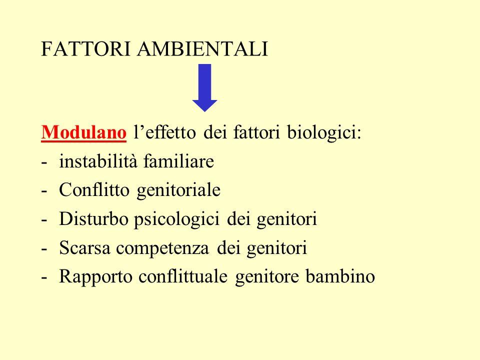 FATTORI AMBIENTALI Modulano l'effetto dei fattori biologici: