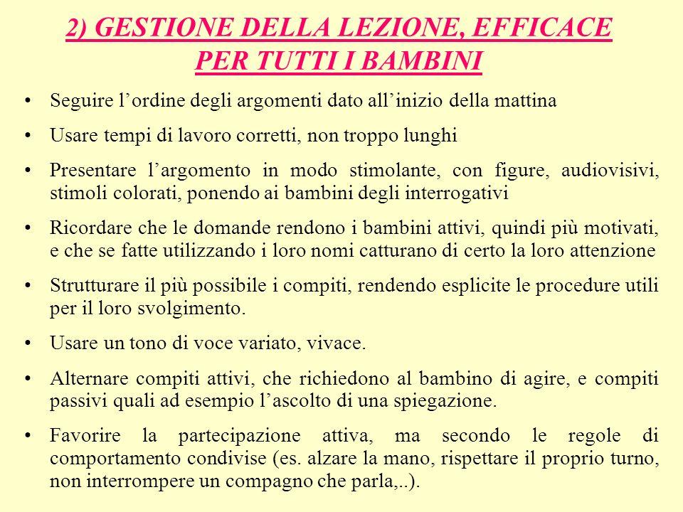2) GESTIONE DELLA LEZIONE, EFFICACE PER TUTTI I BAMBINI