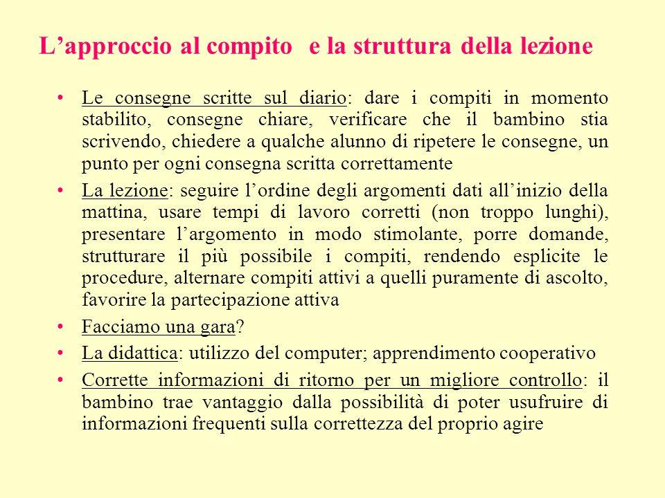 L'approccio al compito e la struttura della lezione