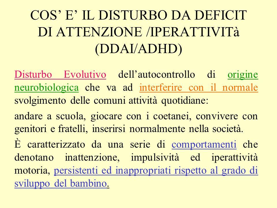 COS' E' IL DISTURBO DA DEFICIT DI ATTENZIONE /IPERATTIVITà (DDAI/ADHD)