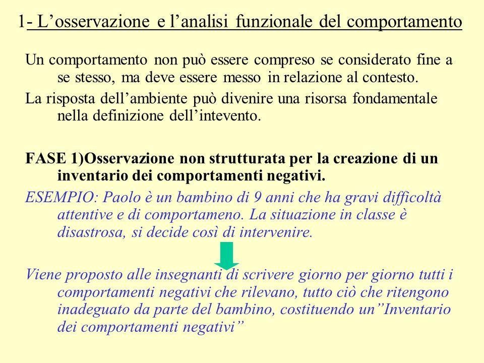 1- L'osservazione e l'analisi funzionale del comportamento