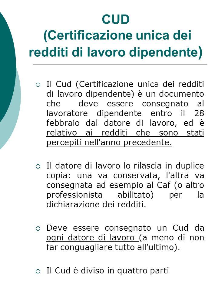 CUD (Certificazione unica dei redditi di lavoro dipendente)