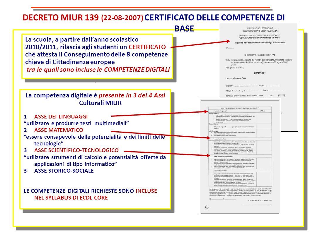 DECRETO MIUR 139 (22-08-2007) CERTIFICATO DELLE COMPETENZE DI BASE