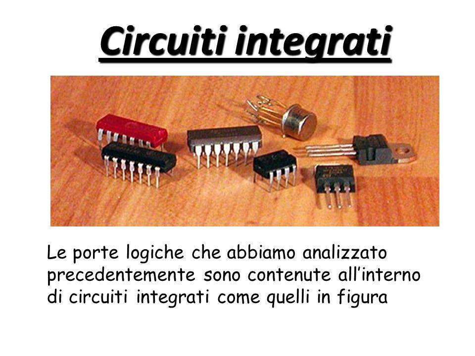 Circuiti integrati Le porte logiche che abbiamo analizzato precedentemente sono contenute all'interno di circuiti integrati come quelli in figura.