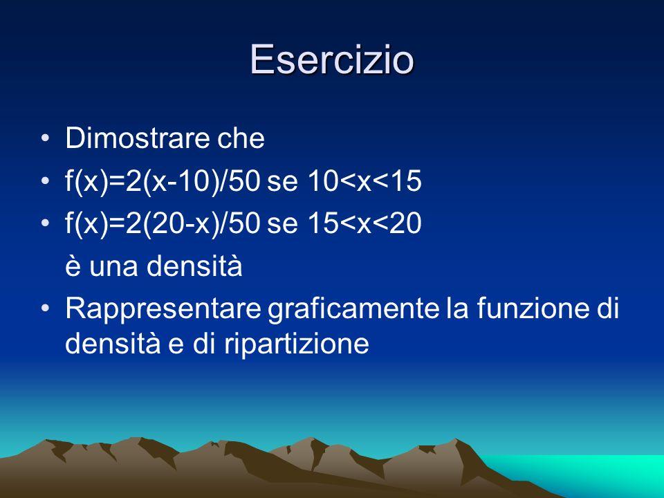Esercizio Dimostrare che f(x)=2(x-10)/50 se 10<x<15