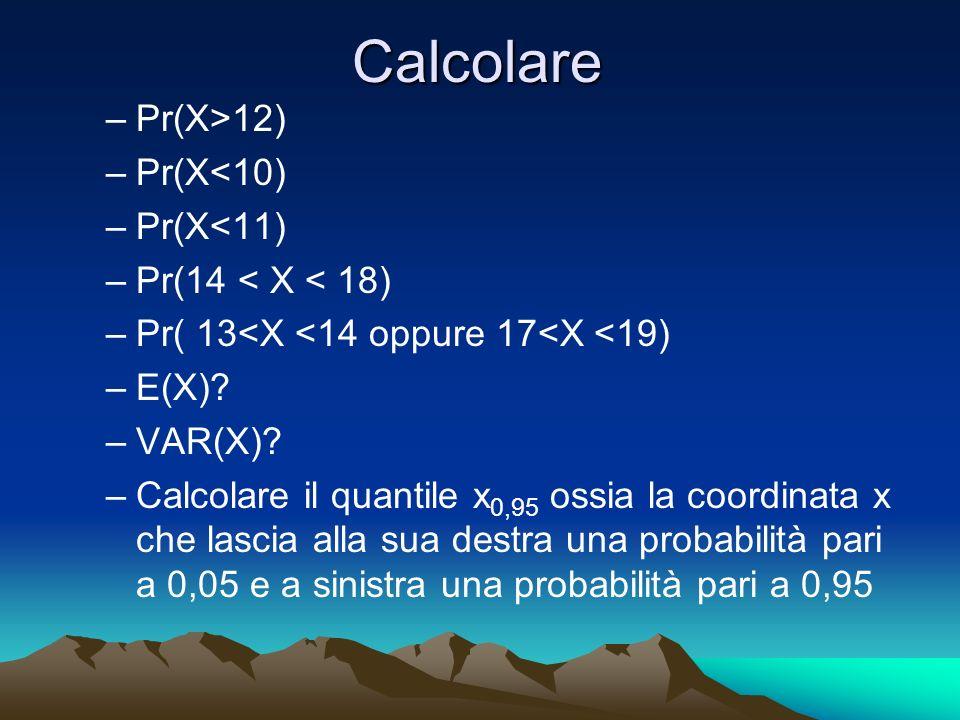 Calcolare Pr(X>12) Pr(X<10) Pr(X<11) Pr(14 < X < 18)