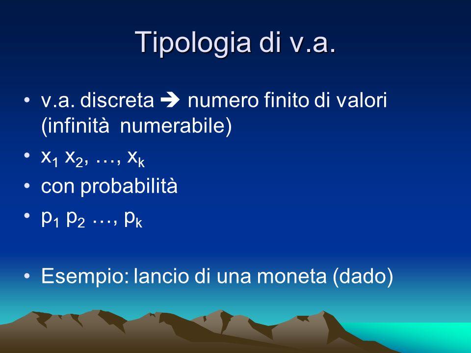 Tipologia di v.a. v.a. discreta  numero finito di valori (infinità numerabile) x1 x2, …, xk. con probabilità.