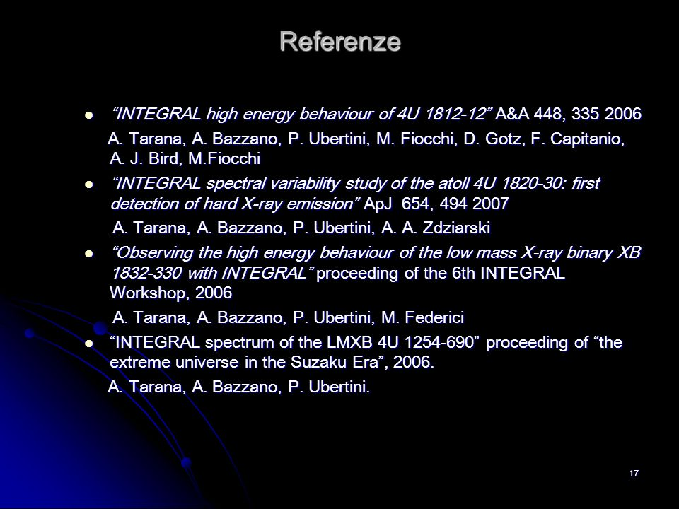 Referenze INTEGRAL high energy behaviour of 4U 1812-12 A&A 448, 335 2006.
