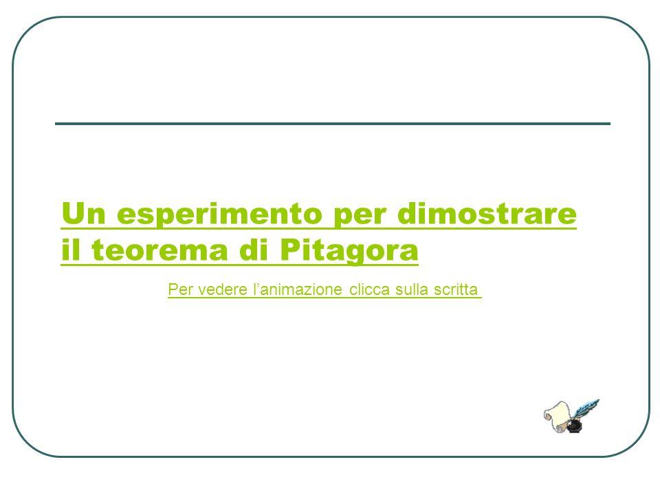 Un esperimento per dimostrare il teorema di Pitagora
