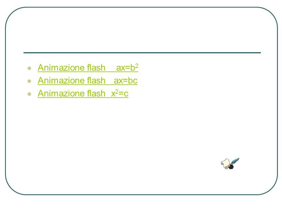 Animazione flash ax=b2 Animazione flash ax=bc Animazione flash x2=c