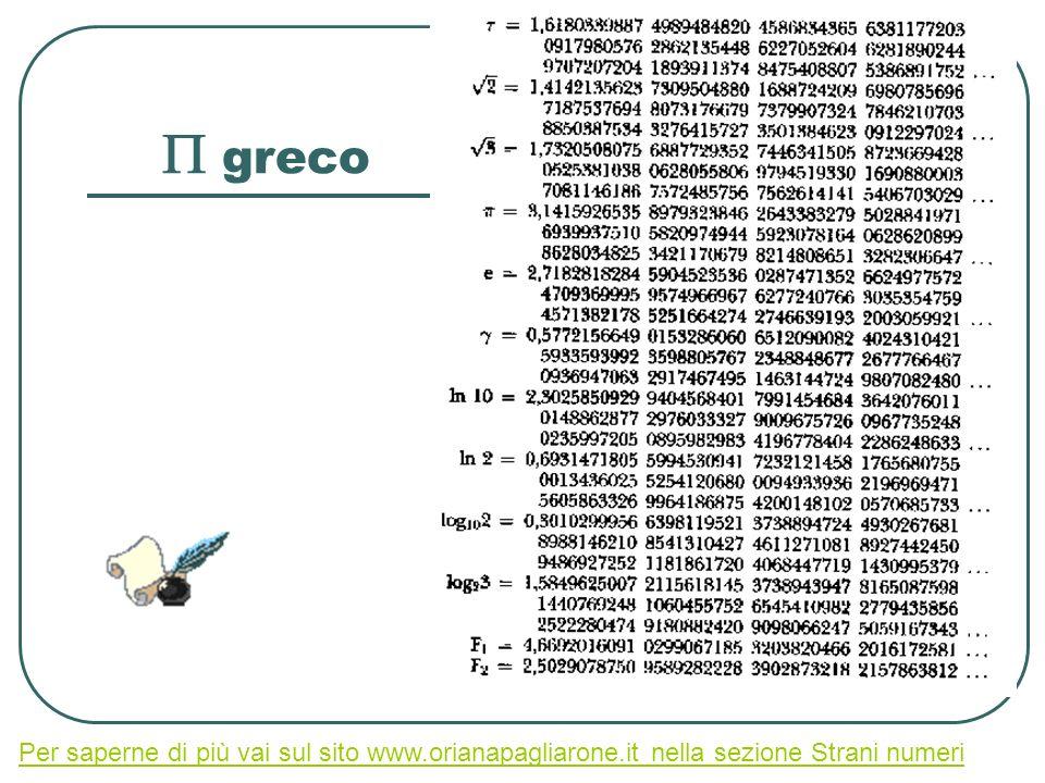 P greco Per saperne di più vai sul sito www.orianapagliarone.it nella sezione Strani numeri