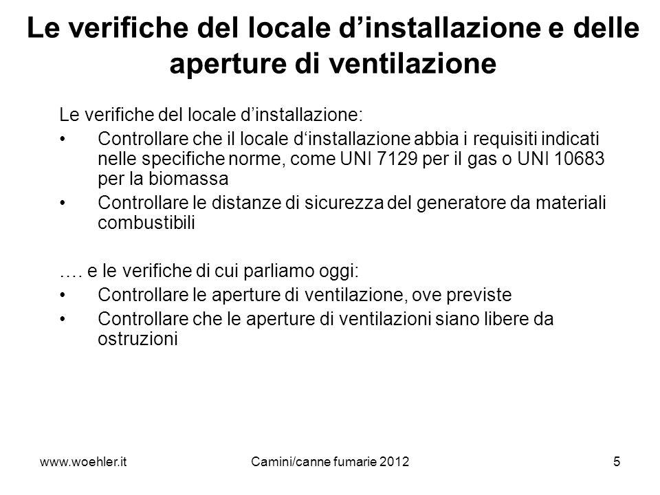Le verifiche del locale d'installazione e delle aperture di ventilazione