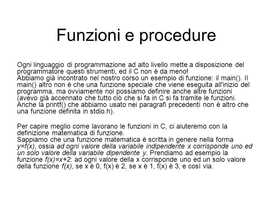 Funzioni e procedure