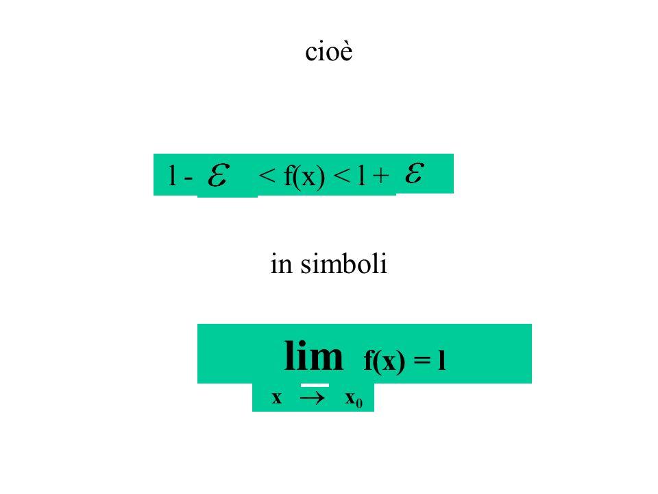 cioè l - < f(x) < l + in simboli lim f(x) = l x x0