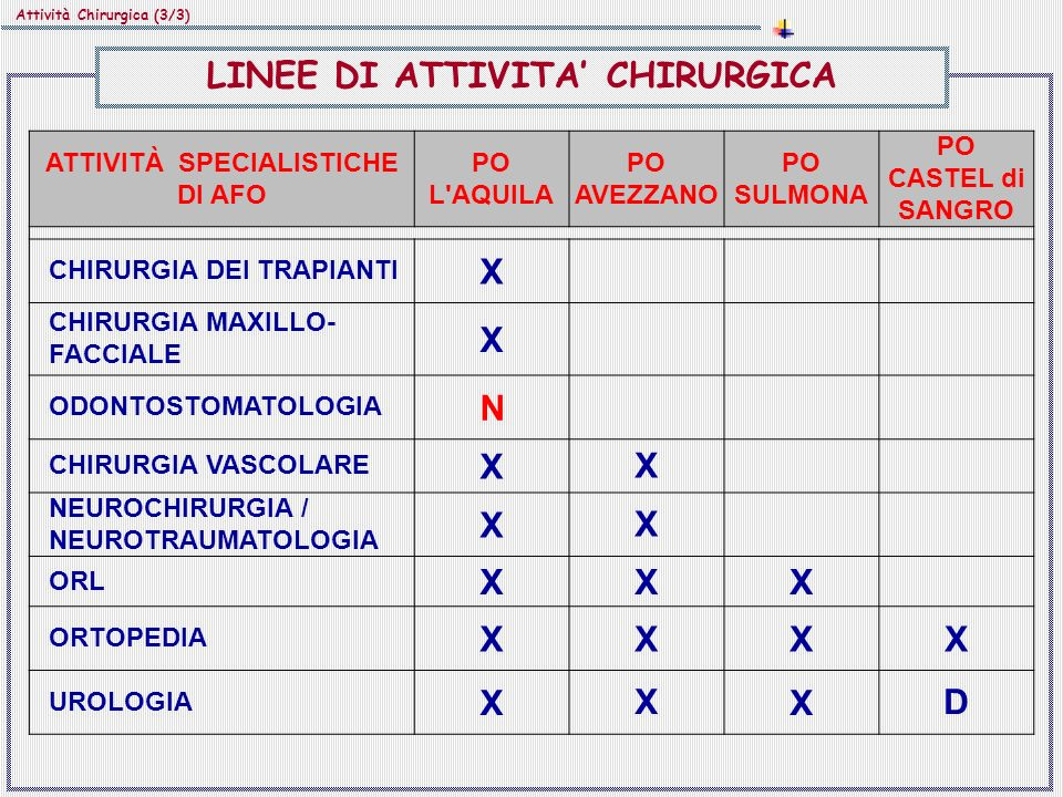 LINEE DI ATTIVITA' CHIRURGICA