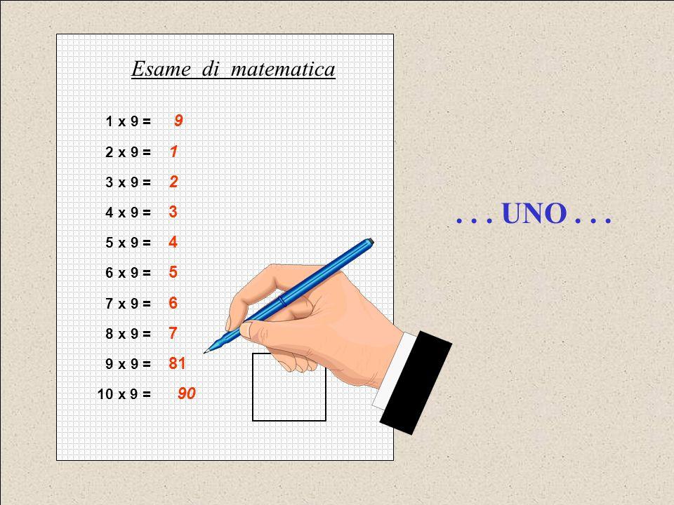 . . . UNO . . . Esame di matematica 1 x 9 = 9 2 x 9 = 1 3 x 9 = 2