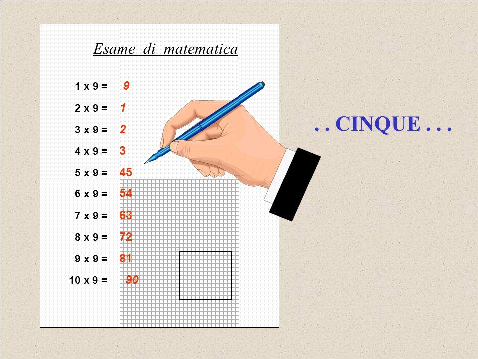 . . CINQUE . . . Esame di matematica 1 x 9 = 9 2 x 9 = 1 3 x 9 = 2